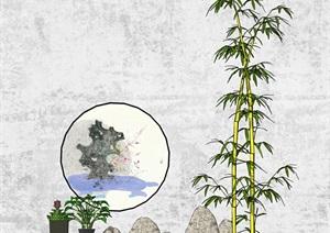 景观小品鹅卵石 石头 竹子 植物 装饰画组合SU(草图大师)模型