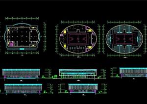 现代体育馆建筑设计cad平立面图