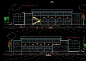 现代两层体育场馆建筑设计cad方案