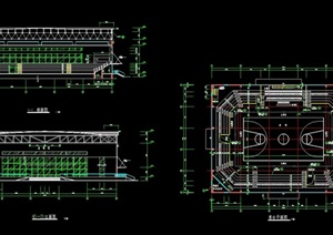 某篮球馆详细建筑设计cad施工图
