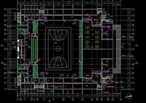 篮球体育场馆设计cad平面图