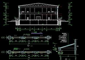 兩層籃球館建筑設計cad施工圖