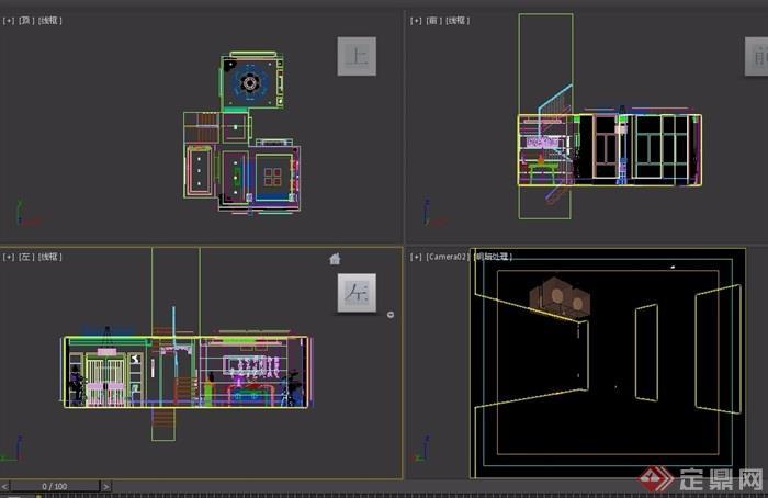 详细的中式客餐厅空间设计3d模型及效果图