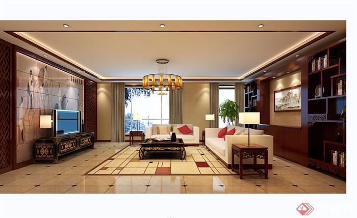 中式住宅客厅室内设计3d模型及效果图