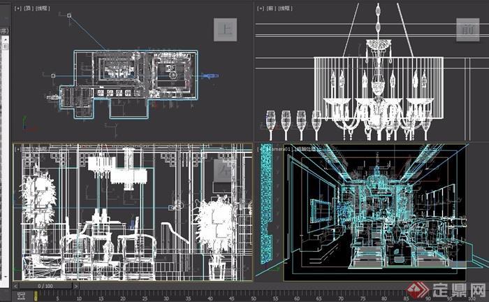 中式住宅详细空间客餐厅玄关设计3d模型