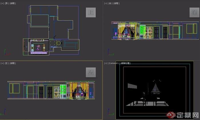 某住宅室内客厅中式设计3d模型及效果图