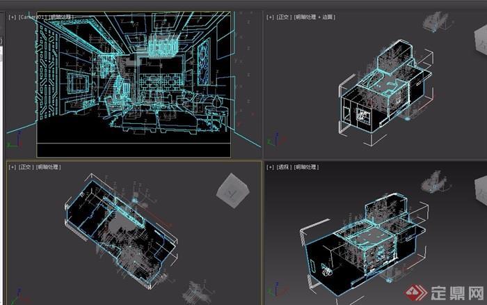 现代风格客厅空间装饰3d模型及效果图