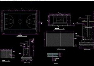 体育健身篮球场地设计cad施工图