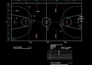 某体育篮球场设计cad施工图