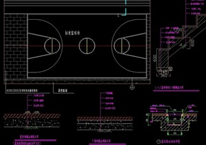 標準籃球場設計cad施工圖
