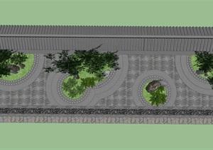 中式石竹庭院+中式瓦片铺装