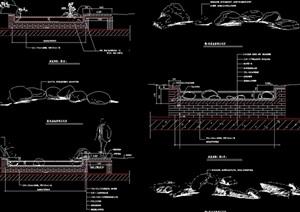 河道溪流河岸设计cad施工图