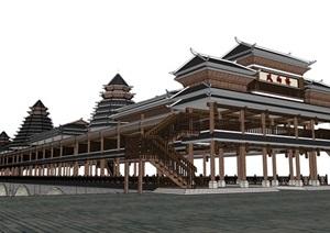 土家族 风雨桥 SU(草图大师)模型