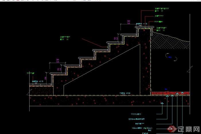 某园林景观详细的台阶素材cad施工图