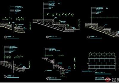 详细的整体台阶设计cad施工图