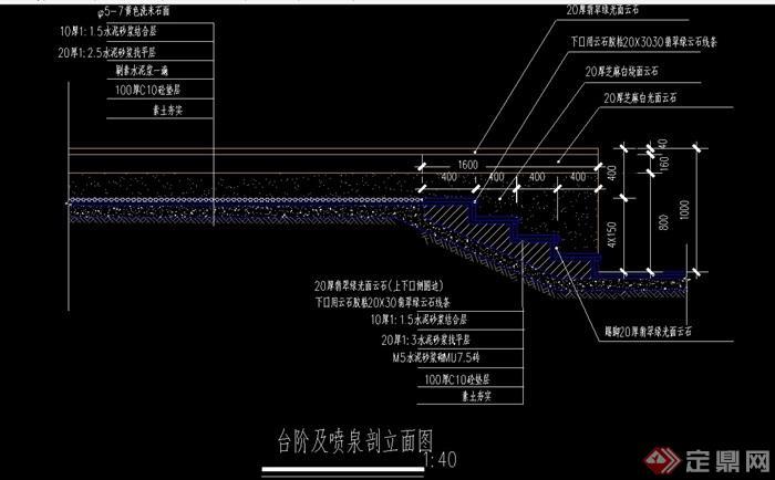 台阶及喷泉素材cad剖面图