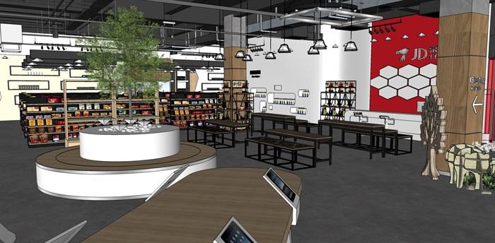 超市进口商品专卖店 室内模型(4)