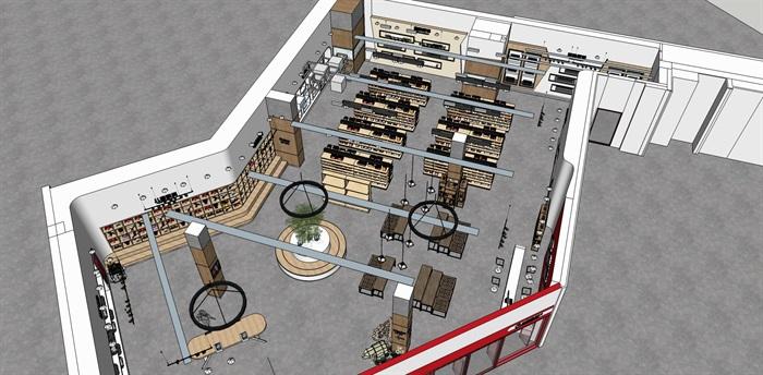 超市进口商品专卖店 室内模型(7)