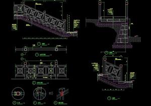 台阶及详细的栏杆素材设计cad施工图