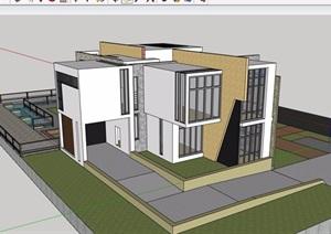 两层详细的私人别墅SU(草图大师)模型