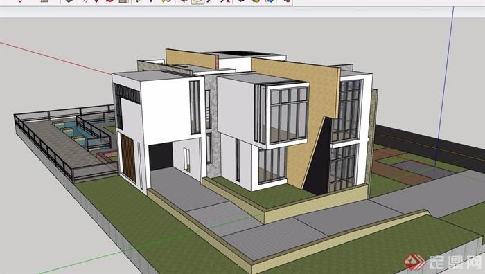 两层详细的私人别墅su模型