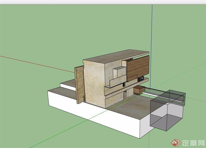 三层详细的现代别墅设计su模型