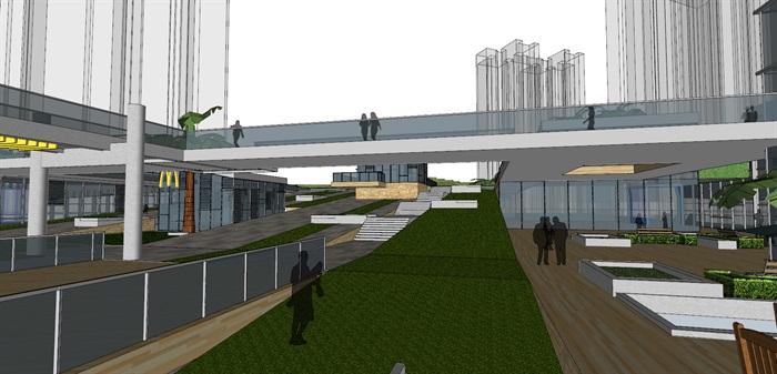 现代创意高差三角形斜坡大屋顶台阶地景式商业购物中心广场步行街综合体(3)