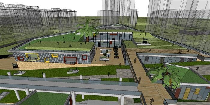 现代创意高差三角形斜坡大屋顶台阶地景式商业购物中心广场步行街综合体(4)