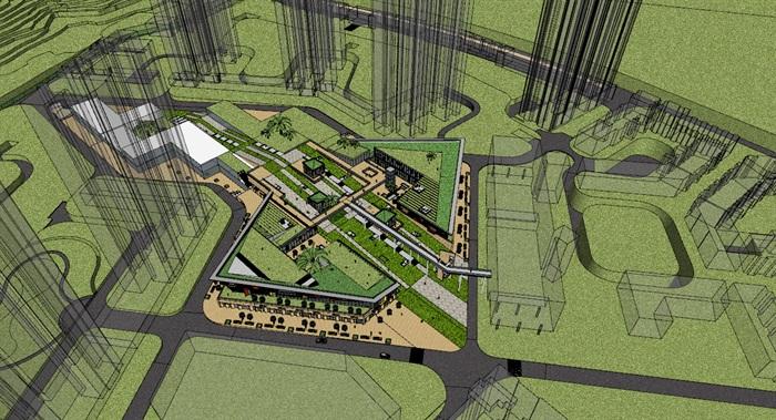 现代创意高差三角形斜坡大屋顶台阶地景式商业购物中心广场步行街综合体(5)