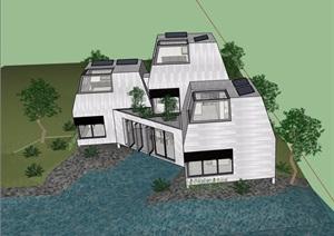 现代私人多层住宅别墅设计SU(草图大师)模型