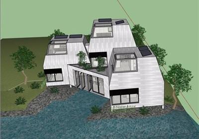 现代私人多层住宅别墅设计su模型