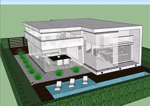 详细?#29287;?#23618;私人住宅别墅设计SU(草图大师)模型