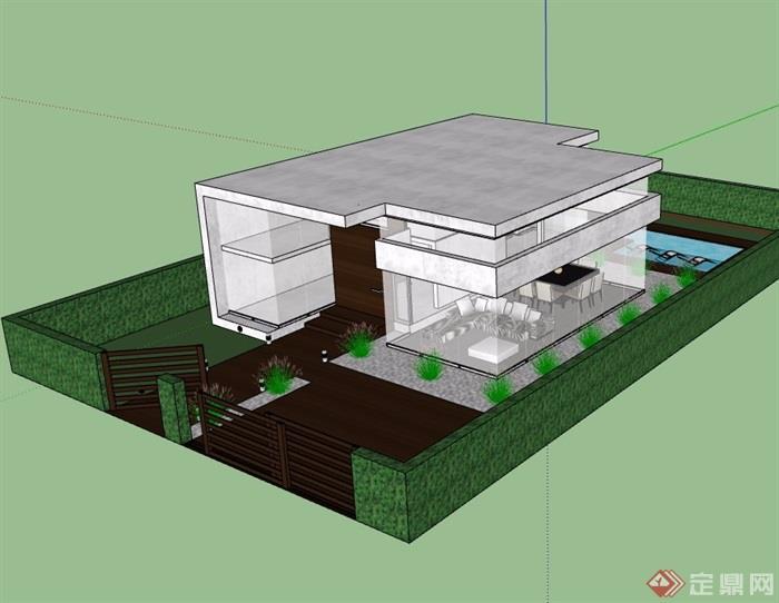 详细的两层私人住宅别墅设计su模型