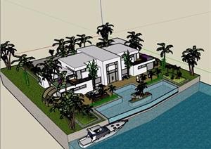 现代两层详细的私人住宅别墅SU(草图大师)模型