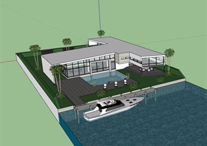 详细的经典两层别墅设计SU(草图大师)模型