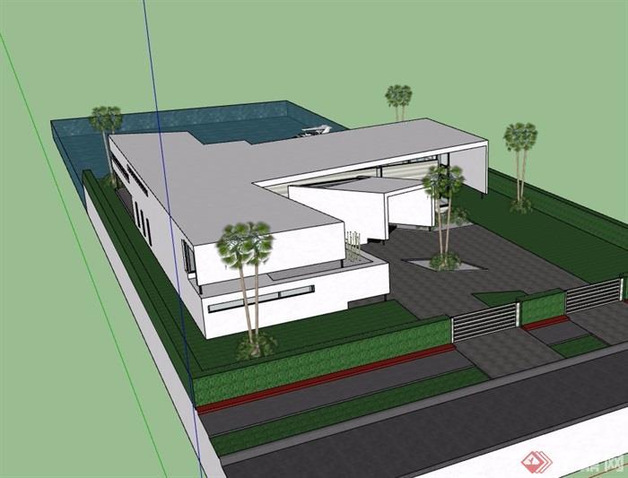 详细的经典两层别墅设计su模型