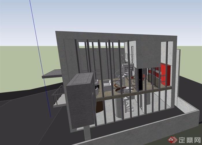 某现代独特详细的别墅su模型