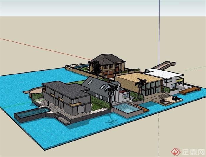 五种不同的详细别墅建筑设计su模型