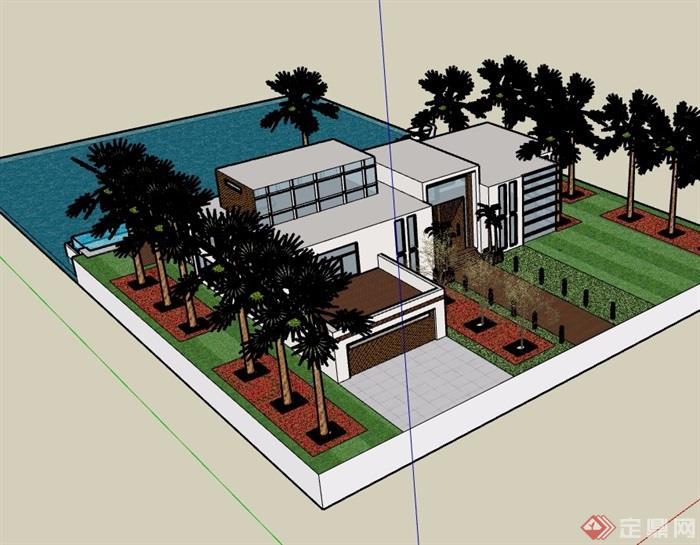 现代风格详细的滨水别墅设计su模型