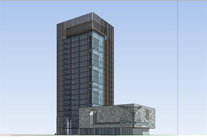 现代高层写字办公商务楼科技研发中心su模型  cad 高清文本图片(1)