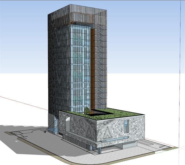 现代高层写字办公商务楼科技研发中心su模型  cad 高清文本图片(2)