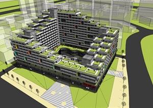 现代创意围合式退台集合公寓住宅楼
