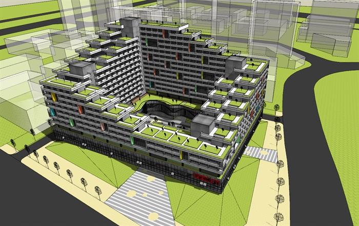 现代创意围合式退台集合公寓住宅楼(1)