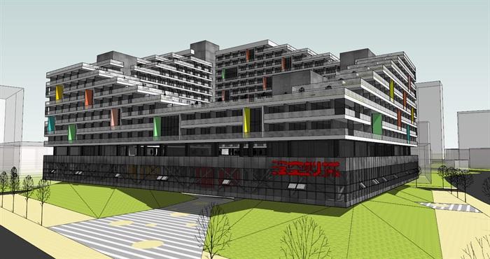 现代创意围合式退台集合公寓住宅楼(2)