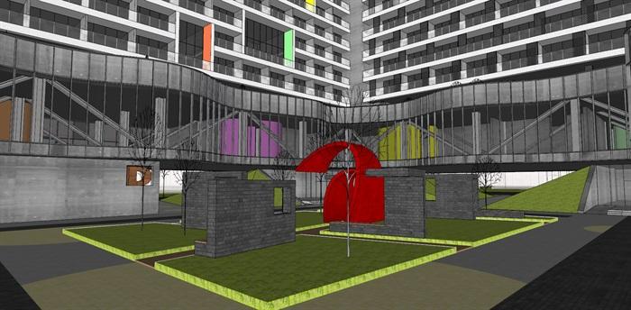 现代创意围合式退台集合公寓住宅楼(4)