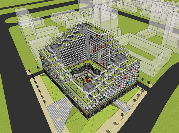 现代创意围合式退台集合公寓住宅楼(5)