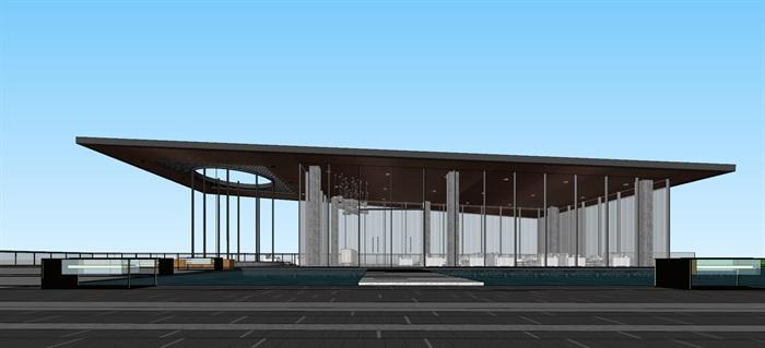 现代创意简约透明性漂浮建筑售楼部示范区文化休闲会所活动中心会馆茶室(1)