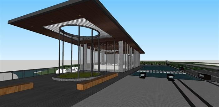 现代创意简约透明性漂浮建筑售楼部示范区文化休闲会所活动中心会馆茶室(4)