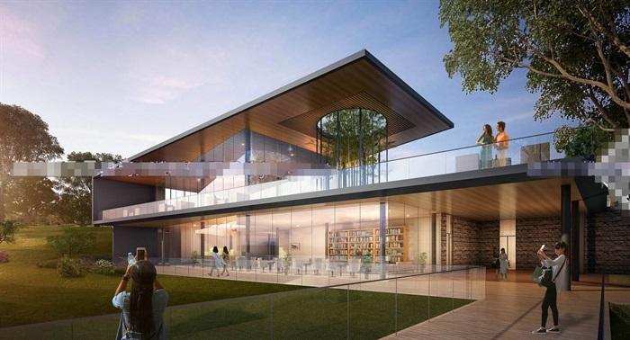 现代创意简约透明性漂浮建筑售楼部示范区文化休闲会所活动中心会馆茶室(6)