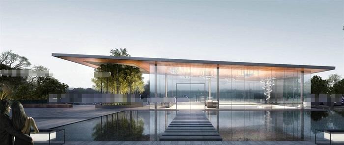 现代创意简约透明性漂浮建筑售楼部示范区文化休闲会所活动中心会馆茶室(7)